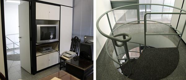 À esquerda, porta com entrada secreta, no gabinete de Agaciel, pelo qual se chegava à escada, lá na foto à direita.