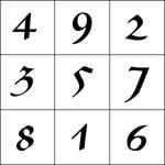 Exemplo de Quadrado Mágico, também chamdo de khamea, do tipo 3 x 3.