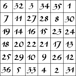 Khamea (quadrado mágico) do Sol, matriz 6 x 6.
