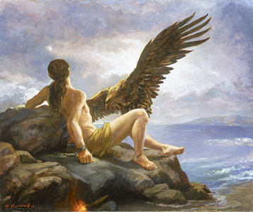 Prometeu, acorrentado a uma rocha, por ordem de Zeus, tem seu fígado devorado por um abutre duariamente.