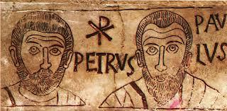Grafite do séc. IV, retratando São Pedro e São Paulo, Roma