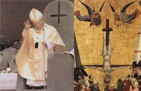 Papa na Cathedra e São Pedro crucificado de cabeça para baixo.