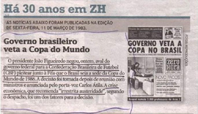 NaoVaiTerCopa - General Figueiredo rejeita proposta de Copa de 1986 no Brasil