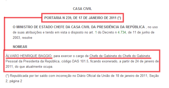 Álvaro Henrique Baggio, Chefe de Gabinete do Chefe de Gabinete