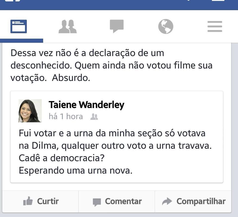Taiene Wanderley fraude na urna 2014