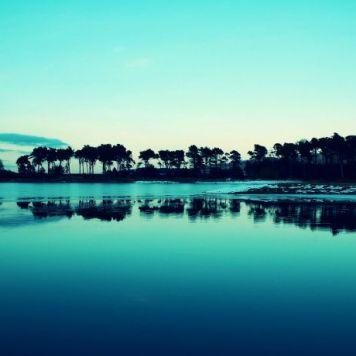 Ilhas, azul, reflexo, monocromático, mar (local desconhecido)