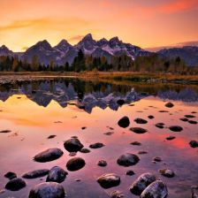 Montanhas, reflexo, céu, rochas (local desconhecido)