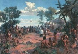 """""""A Fundação de São Paulo"""" que ocorreu em 1554, retratada em pintura de Oscar Pereira da Silva (1865-1939)."""