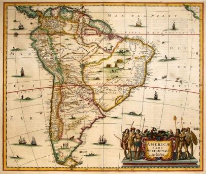 Mapa antigo da América do Sul de 1636 elaborado por Johannes Janssonius gravada por seu parceiro de negócios Henricus Hondius