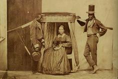 Mulher sendo carregada na liteira por seus escravos, em São Paulo, 1860.