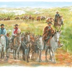 Tropa de bois sendo conduzida por gaúchos do RS ára SP, séc. XVIII-XIX (pintura)
