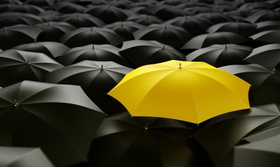 3d rendering of a sea of umbrellas