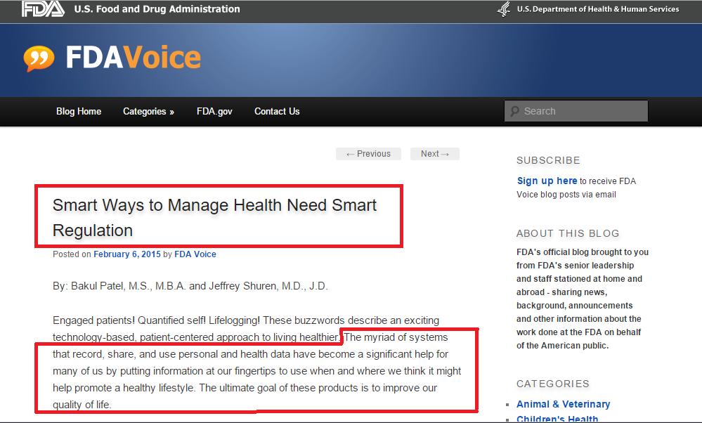 FDA (2015). Smart Ways to Manage Health Need Smart Regulation. Entrada (online). FDA Voice. Publicada em 6 de fevereiro de 2015. (Clique na imagem para acessar a página.)