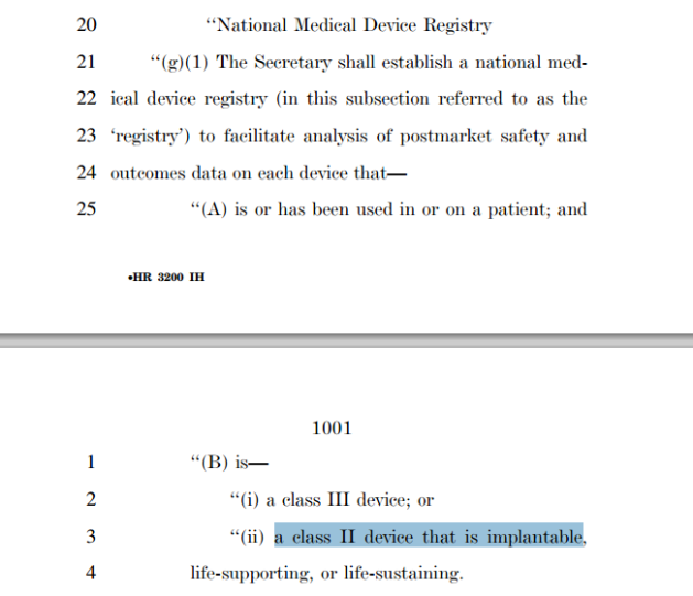 HR 3200 on implantable devices