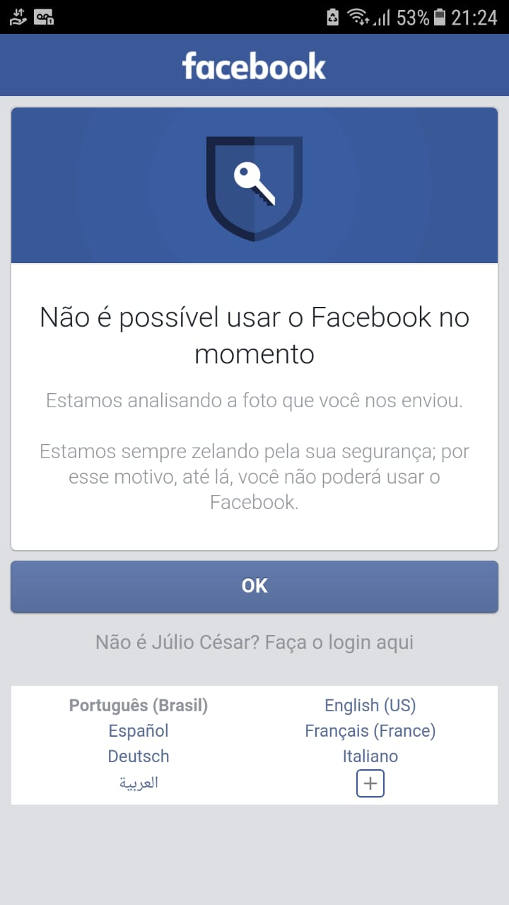 Nota: Banimento perpétuo do Facebook